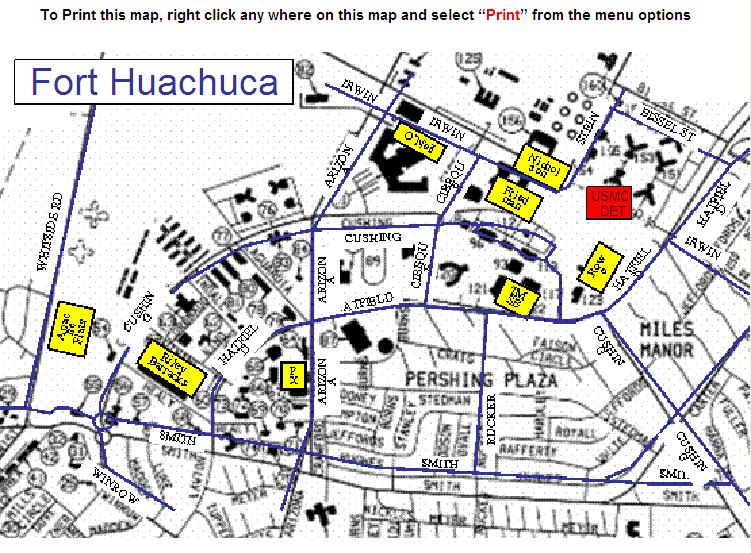 "Fort Huachuca Map Training Command > Units > Southwest > MATSG 22 > MARDET Ft Huachuca"" title=""Fort Huachuca Map Training Command > Units > Southwest > MATSG 22 > MARDET Ft Huachuca"" width=""200″ height=""200″><br /> <P align=left> The first is this interesting pattern at Fort Huachuca, Arizona: We came across this article which mentions patterns at Walker Field, Maryland and Eglin Air Force Base, Florida amongst others. We   Texas 47,190 3,350 Killeen Daily Herald Fort Huachuca, Arizona 5,841 114 Fort Irwin, California 5,539 246 Fort Jackson, South Carolina 5,735 180 The State Fort Knox, Kentucky 13,127 GAIN 67   The program takes a 360-degree, hands-on approach through a forensics lab; a malware sandbox; an Internet of Things lab; and Cyberapolis, a virtual city with a 3D GUI with network attack map<br /> <P align=center><br /> <img src="