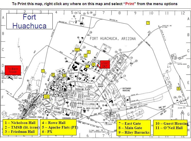 Fort Huachuca Legend Map